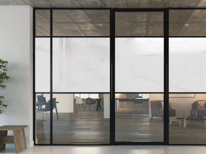 Porte vitrée salon avec le film opaque blanc nacré