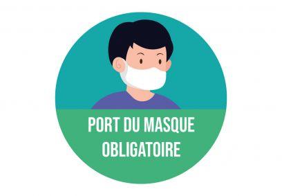 Autocollant signalétique sanitaire Port du masque . Luminis-Films
