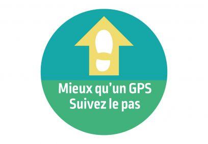 Autocollant signalétique décalé Mieux qu'un GPS. Luminis-Films