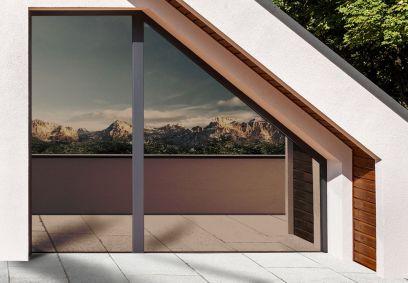 film pour vitrage électrostatique miroir sans tain couleur bronze pris de vue extérieure