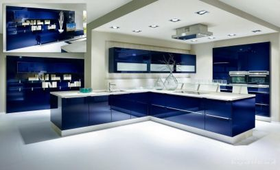 Revêtement décoratif bleu métallisé 3D. Luminis-Films