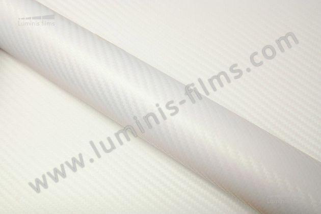 Revêtement décoratif carbone blanc nacré 3D. Luminis Films