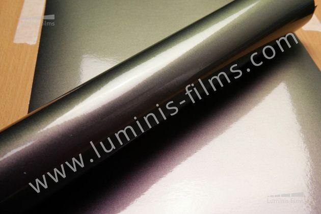 Revêtement décoratif caméléon violet/bleu nuit 3D. Luminis Films