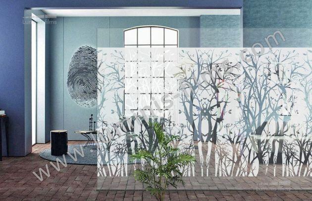 Film décoratif dépoli à arbres. Luminis-Films