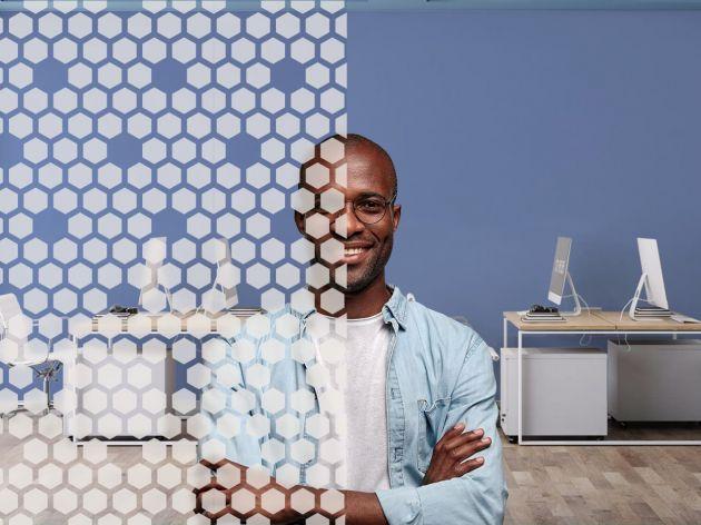 Film décoratif motif hexagones dépolis . Luminis Films