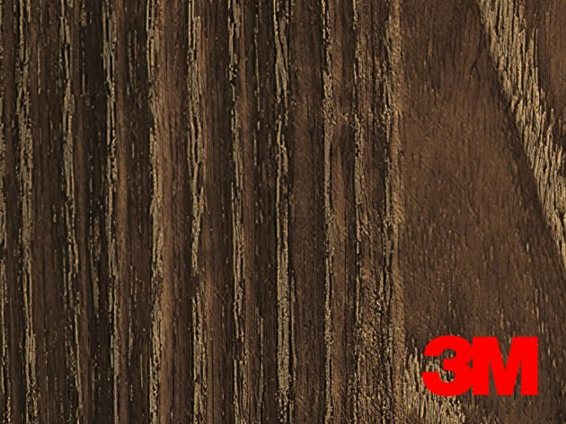 Revêtement décoratif DI-NOC 3M effet bois foncé liserés clairs. Luminis Films
