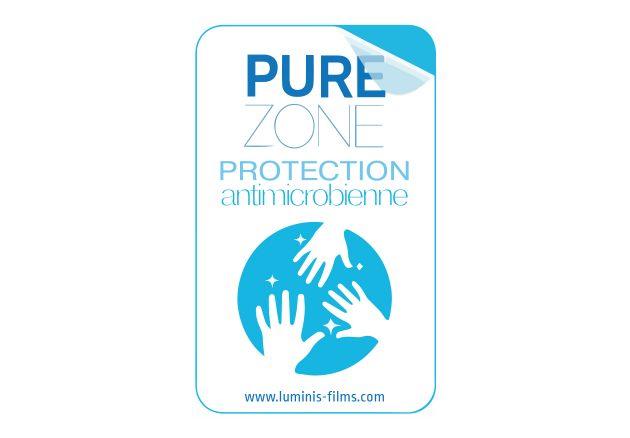 Adhésif Label PUREZONE pour film anti microbien . Luminis-Films