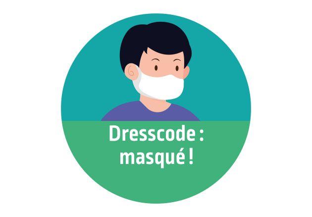 Autocollant signalétique décalé Dresscode masqué. Luminis-Films