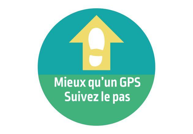 Autocollant signalétique décalé Mieux qu'un GPS. Luminis Films