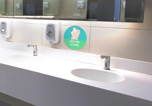 Autocollant signalétique sanitaire Lavez-vous les mains