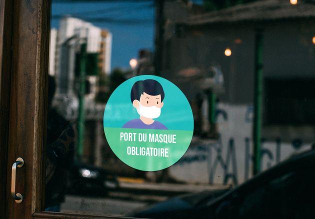 Autocollant signalétique sanitaire Port du masque