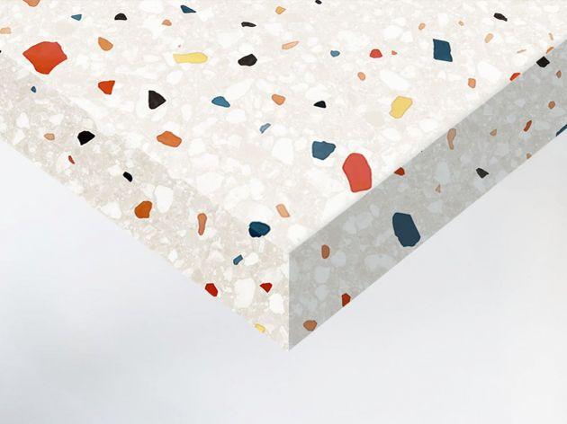 Adhésif décoratif imitation terrazzo beige coloré. Luminis Films