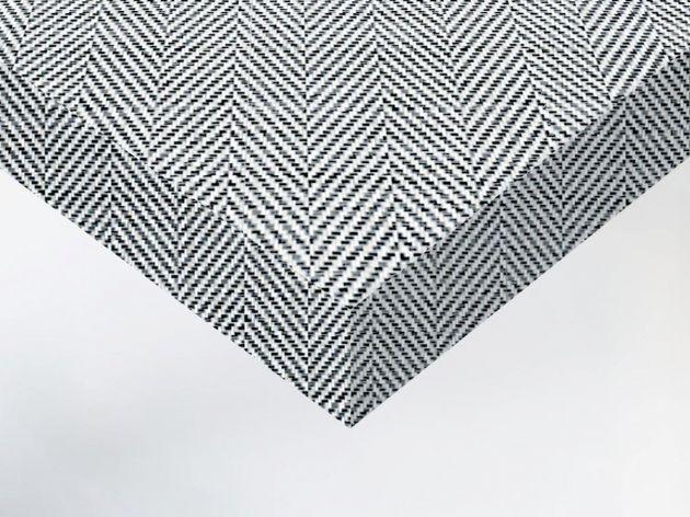 Adhésif décoratif imitation tissu chevron noir et blanc. Luminis Films