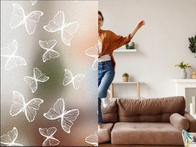 Film repositionnable dépoli avec papillons blancs. Luminis Films
