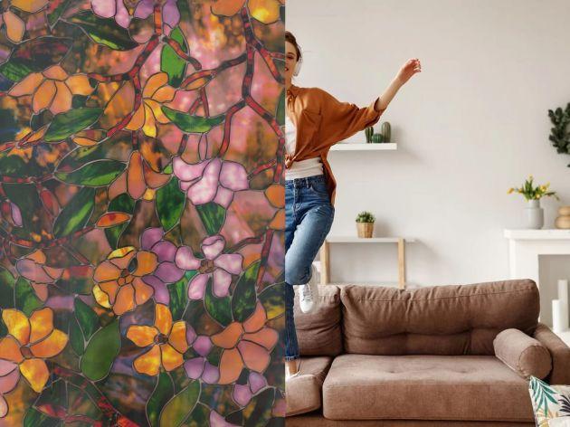 Film électrostatique vitrail coloré motif floral. Luminis Films