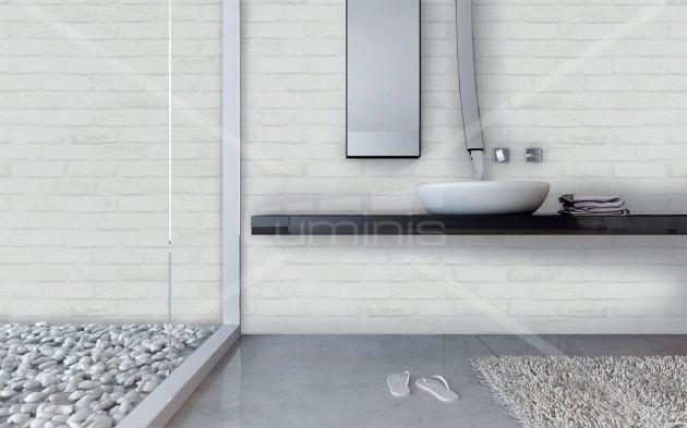 Revêtement mur de briques blanches