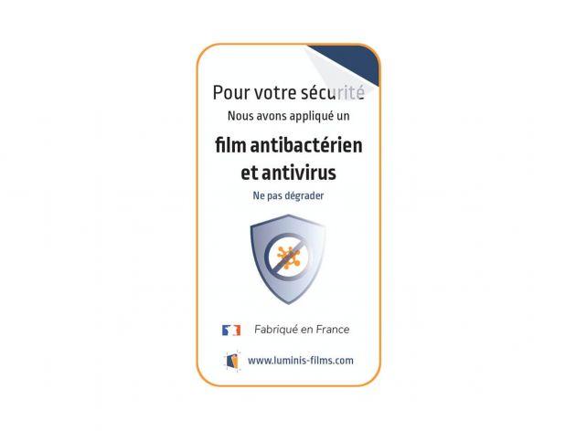 Autocollant informatif pour film antimicrobien . Luminis Films