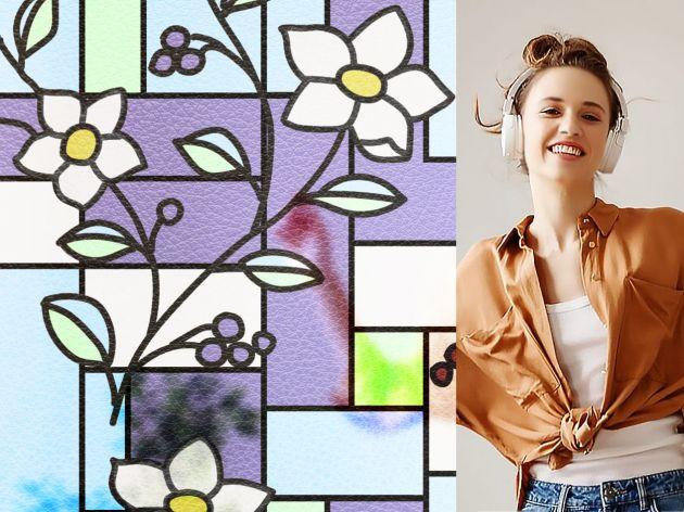 Film repositionnable coloré à fleurs. Luminis Films