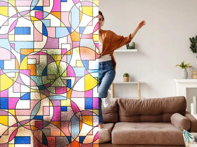 Film repositionnable à formes géométriques colorées. Luminis Films