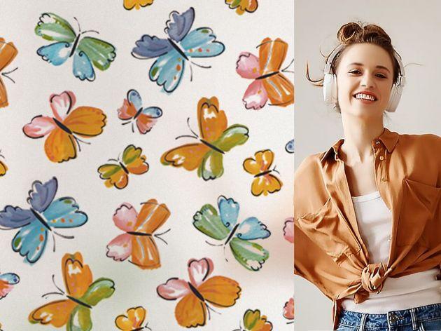 Film repositionnable dépoli papillons aquarelle. Luminis Films