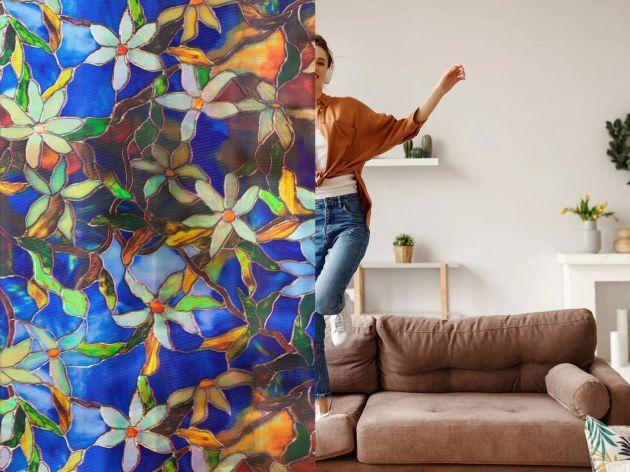 Film repositionnable vitrail fleuri. Luminis Films