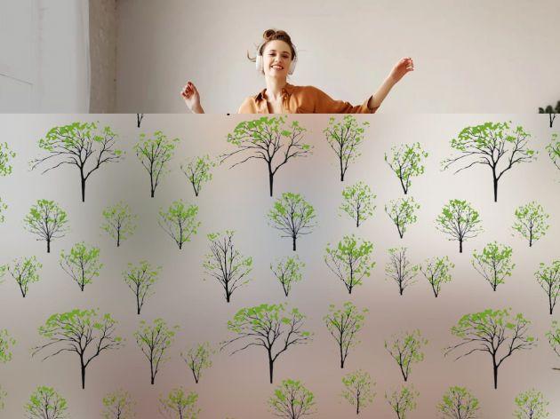 Film électrostatique dépoli arbustes verts. Luminis Films