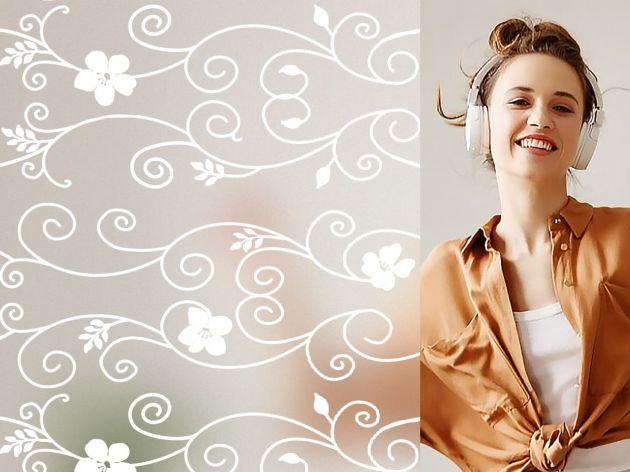 Film repositionnable motif fleurs blanches d'hibiscus. Luminis Films