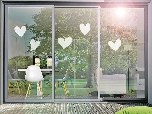 Stickers pour vitre motif cœurs. Luminis Films