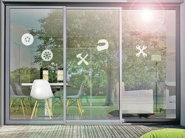 Stickers pour vitre motif garage. Luminis Films