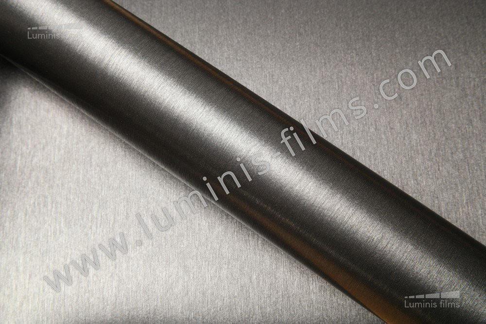 Revêtement décoratif métal brossé anthracite 3D. Luminis-Films