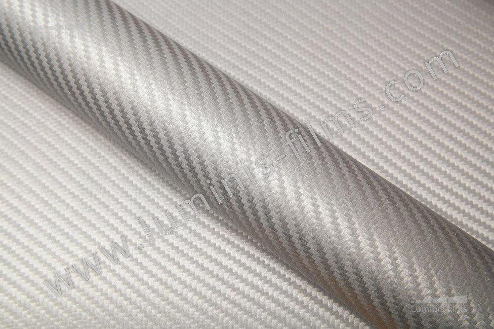 Revêtement décoratif carbone argent 3D. Luminis-Films