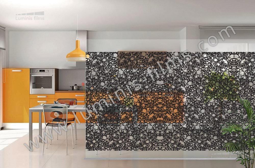 Film d coratif motifs floral noir deco 527i luminis films - Film adhesif decoratif pour meuble ...