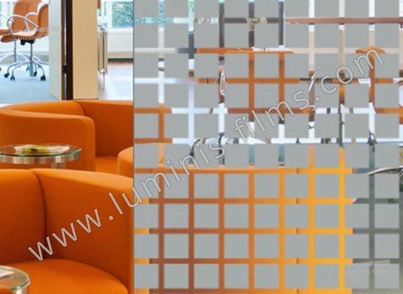 Film décoratif à carrés gris. Luminis-Films