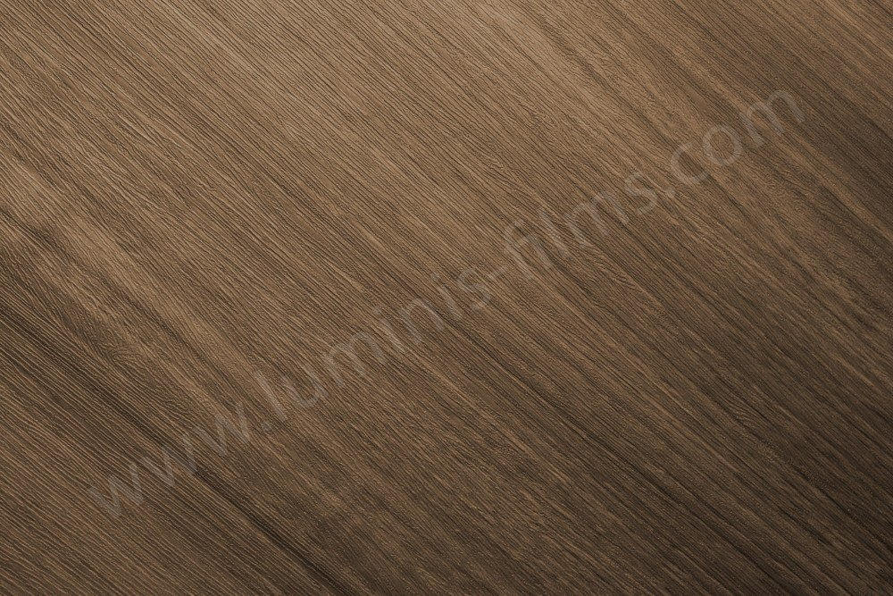 Adhésif imitation bois chêne marron structuré. Luminis-Films