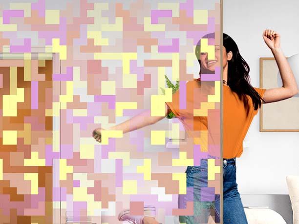 Film décoratif personnalisable motif tetris. Luminis Films