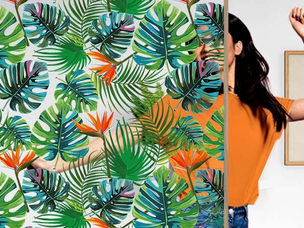 Film décoratif personnalisable motif tropic. Luminis Films