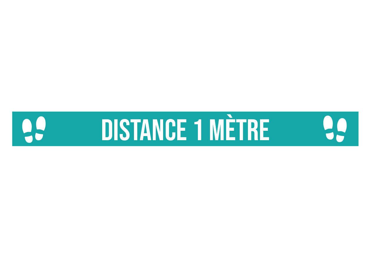 Marquage au sol Distance 1 mètre bleu. Luminis-Films