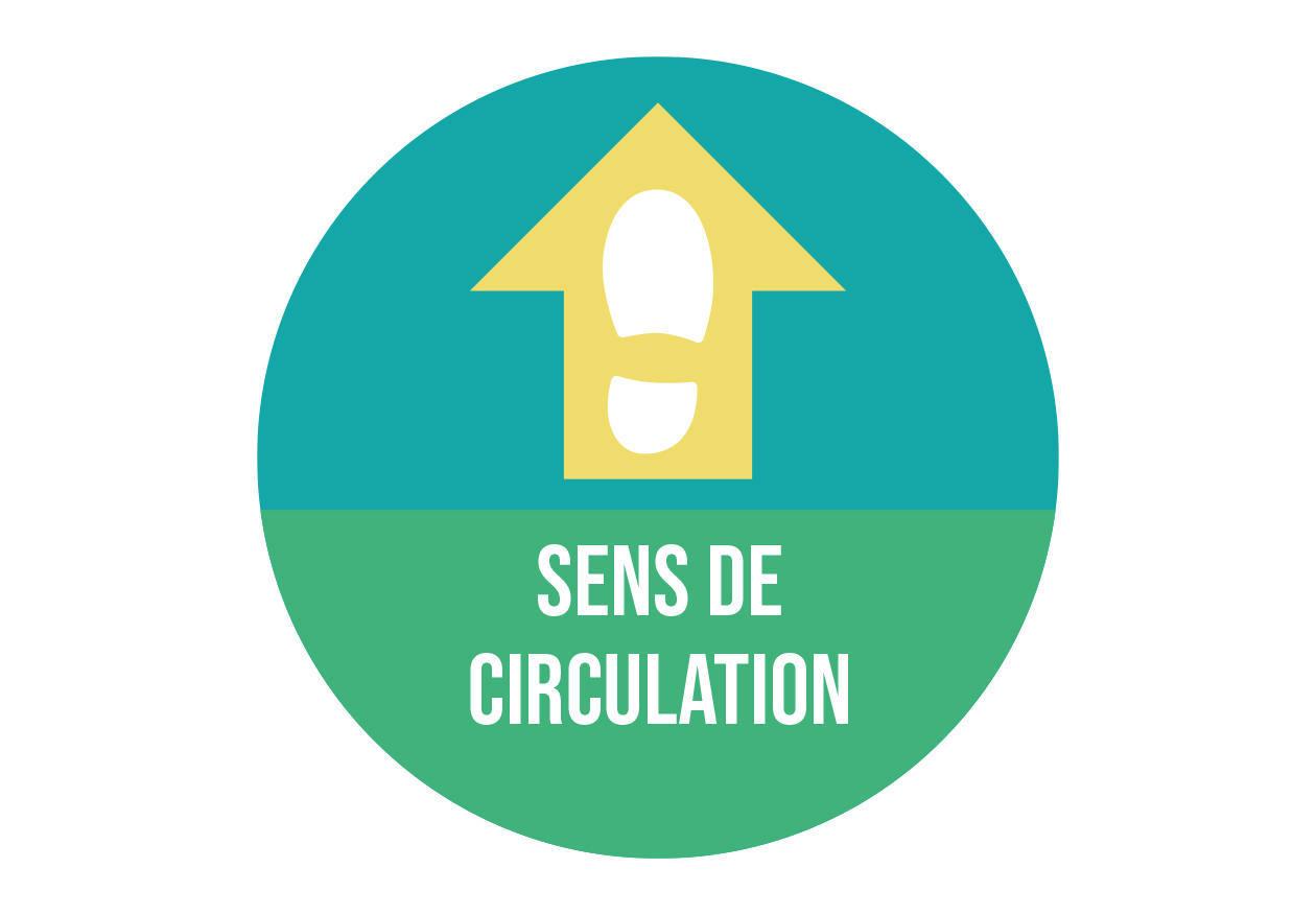 Autocollant signalétique sanitaire Sens de circulation. Luminis-Films