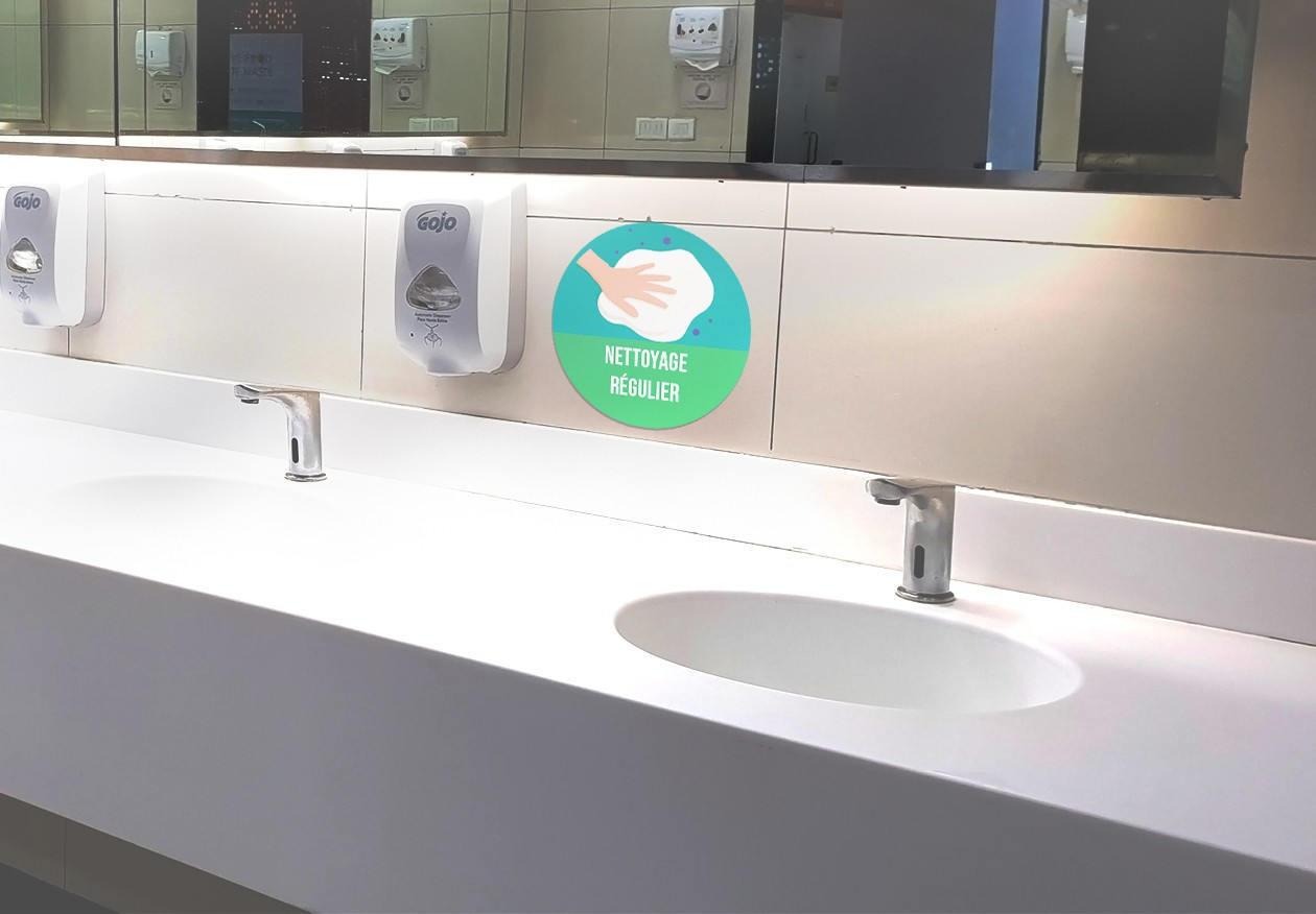 Autocollant signalétique sanitaire Nettoyage régulier. Luminis-Films
