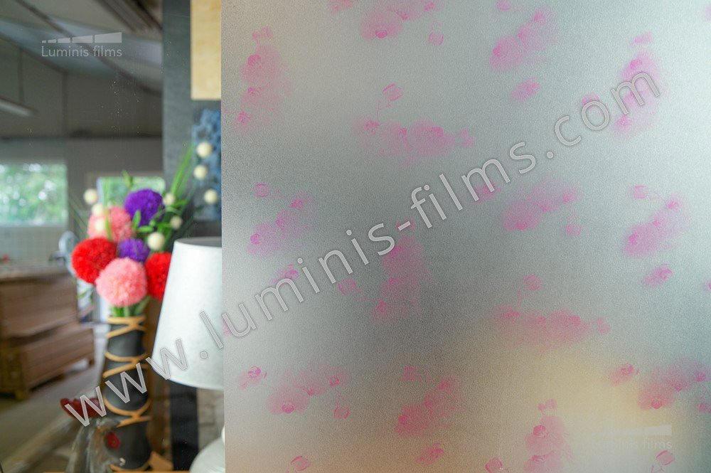 Film repositionnable dépoli impression orchidées. Luminis-Films