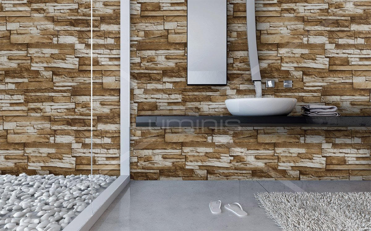 Adh sif mural pierre de parement beiges brick 2910 luminis films - Parement mural bois adhesif ...