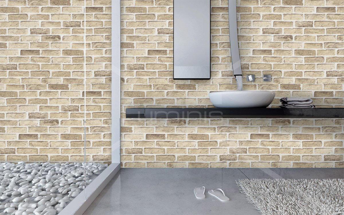 papier mural mur de briques beiges brick 2917 luminis films. Black Bedroom Furniture Sets. Home Design Ideas