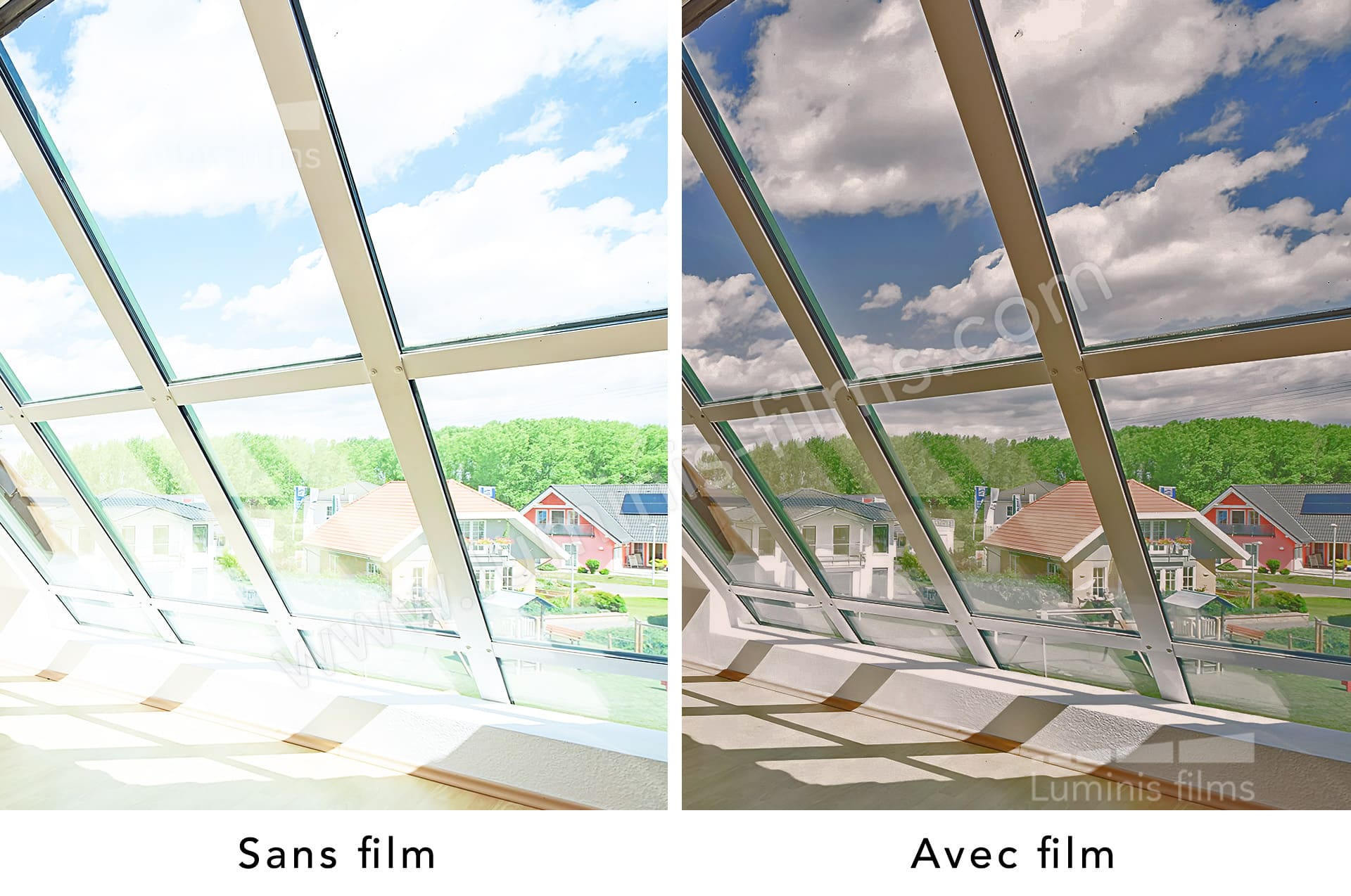 Film repositionnable solaire bronze. Luminis-Films