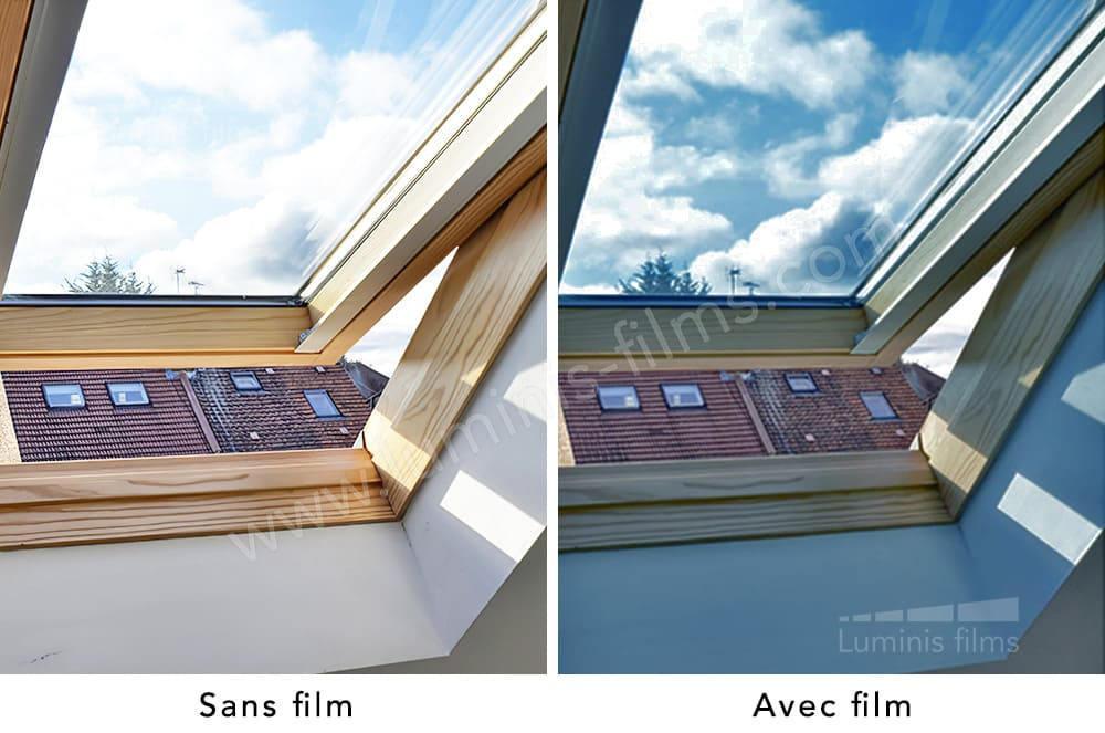 Film solaire repositionnable bleu. Luminis-Films