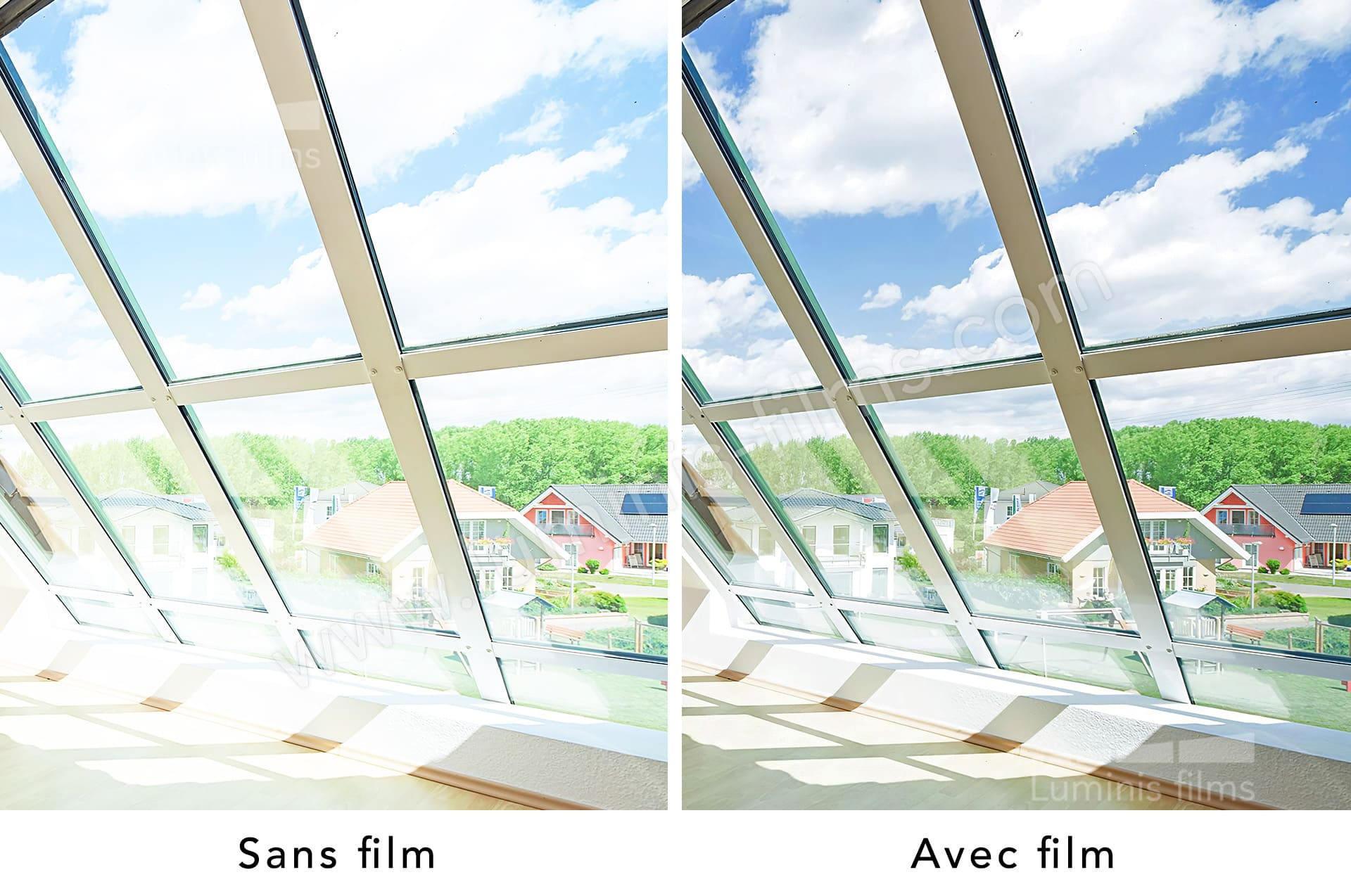 Film repositionnable solaire argent clair. Luminis-Films