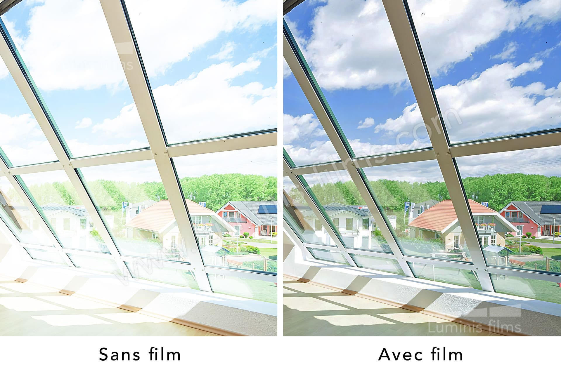 FILM SOLAIRE Vitrage bâtiment vente au ML protection anti-chaleur fenêtre velux