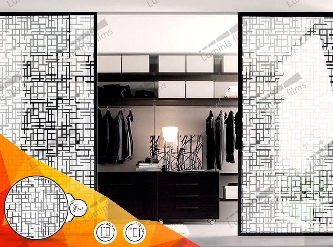 Film d coratif motifs g om triques blanc deco 514i - Film adhesif decoratif pour meuble ...