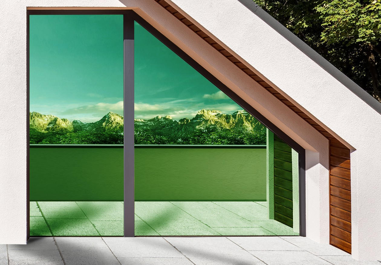 Film miroir sans tain réfléchissant vert. Luminis-Films