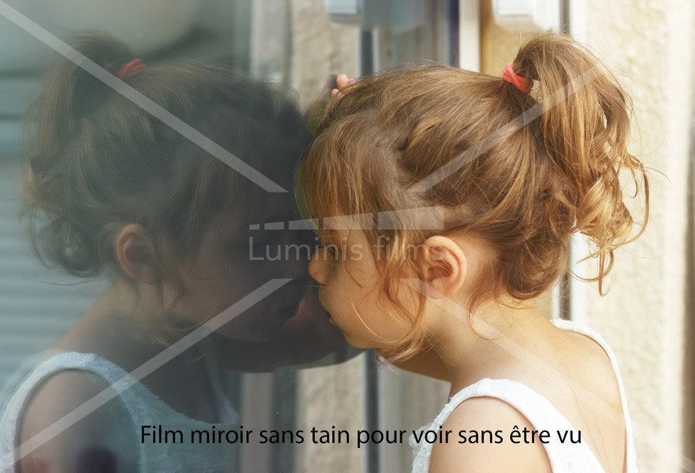 Film effet miroir sans tain argent reflet 200x luminis for Film miroir sans tain avis