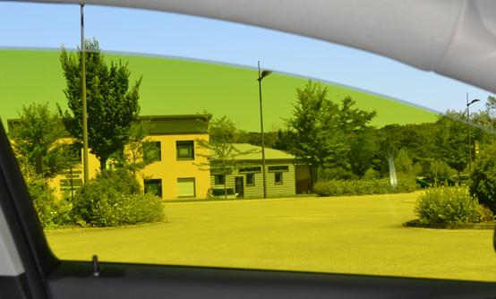 Film teinté tuning jaune citron : vue intérieure. Variance Auto